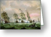 Galleon Greeting Cards - Admiral Sir Edward Hawke defeating Admiral de Conflans in the Bay of Biscay Greeting Card by Thomas Luny