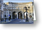 Pavement Greeting Cards - Admiralty Arch in Westminster London Greeting Card by Elena Elisseeva