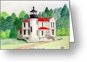 Historic Lighthouse Drawings Greeting Cards - Admiralty head Light Greeting Card by Frederic Kohli
