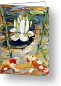 Post Mixed Media Greeting Cards - Admiring A Lotus Greeting Card by Robert Wolverton Jr