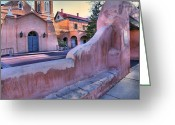 Albuquerque Greeting Cards - Adobe Wall and Felipe de Neri Church Greeting Card by Steven Ainsworth