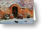 Adobe Architecture Greeting Cards - Adobe wall with wooden door in snow. Greeting Card by Gary Kim