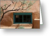 Adobe Architecture Greeting Cards - Adobe Window in Green Greeting Card by Heidi Hermes