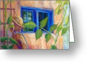 Western Pastels Greeting Cards - Adobe Windows Greeting Card by Candy Mayer
