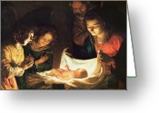 Christmas Greeting Cards - Adoration of the baby Greeting Card by Gerrit van Honthorst