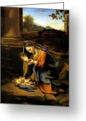 Baby Jesus Greeting Cards - Adoration of the Child Greeting Card by Correggio