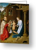 Nativities Greeting Cards - Adoration of the Christ Child  Greeting Card by Master of San Ildefonso