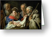 Newborn Greeting Cards - Adoration of the Infant Jesus Greeting Card by Stomer Matthias