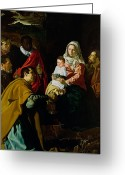 Nativities Greeting Cards - Adoration of the Kings Greeting Card by Diego rodriguez de silva y Velazquez