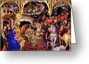 Baby Jesus Greeting Cards - Adoration of the Kings Greeting Card by Gentile da Fabriano