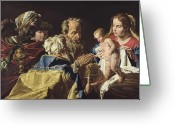 Nativities Greeting Cards - Adoration of the Magi  Greeting Card by Matthias Stomer