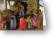 Nativities Greeting Cards - Adoration of the Magi Greeting Card by Sandro Botticelli