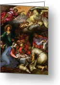 Cherubs Greeting Cards - Adoration of the Shepherds Greeting Card by Abraham Bloemaert