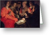 Nativities Greeting Cards - Adoration of the Shepherds Greeting Card by Georges de la Tour