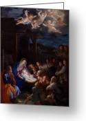 Shepherds Greeting Cards - Adoration Of The Shepherds Greeting Card by Guido Reni