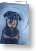 Pet Portrait Artists Greeting Cards - Adrian Greeting Card by Donna Tuten
