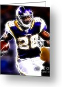 Running Back Greeting Cards - Adrian Peterson 01 - Football - fantasy Greeting Card by Paul Ward