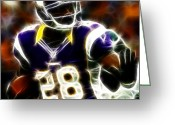 Running Back Greeting Cards - Adrian Peterson 02 - Football - fantasy Greeting Card by Paul Ward