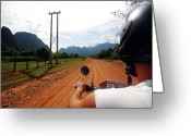 Head And Shoulders Greeting Cards - Adventure Motorbike Trip In Laos Greeting Card by Thepurpledoor