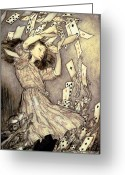Spades Greeting Cards - Adventures in Wonderland Greeting Card by Arthur Rackham