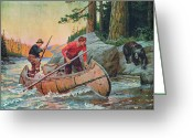 Waters Painting Greeting Cards - Adventures On The Nipigon Greeting Card by JQ Licensing