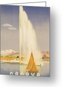 1930s Greeting Cards - Advertisement for travel to Geneva Greeting Card by Fehr