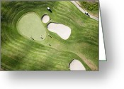 Golf Green Greeting Cards - Aerial Of Golfers On Green Of Tierra Del Sol Golf Course Greeting Card by Holger Leue