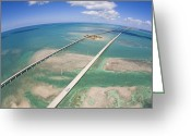 Tides Greeting Cards - Aerial Of Seven Mile Bridge At Extreme Greeting Card by Mike Theiss