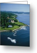 Shorelines Greeting Cards - Aerial Of The Breakers, A Mansion Built Greeting Card by Ira Block