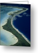 Reefs Greeting Cards - Aerial Of The Outer Reef And Barrier Greeting Card by Paul Chesley