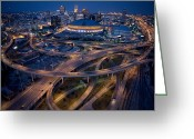 Night Greeting Cards - Aerial Of The Superdome In The Downtown Greeting Card by Tyrone Turner