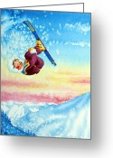 Ski Art Painting Greeting Cards - Aerial Skier 13 Greeting Card by Hanne Lore Koehler
