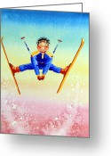 Sports Art Painting Greeting Cards - Aerial Skier 17 Greeting Card by Hanne Lore Koehler
