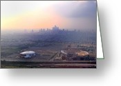 Lincoln Field Greeting Cards - Aerial View - Philadelphias Stadiums with Cityscape  Greeting Card by Bill Cannon