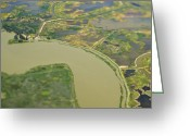 Flood Plain Greeting Cards - Aerial View of a Flood Plain Greeting Card by Eddy Joaquim