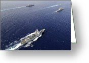 Guided Missile Destroyers Greeting Cards - Aerial View Of A Naval Fleet Transiting Greeting Card by Stocktrek Images