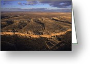 Pre Columbian Antiquities And Artifacts Greeting Cards - Aerial View Of Chaco Canyon And Ruins Greeting Card by Ira Block