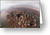 Manhattan Greeting Cards - Aerial View Of City Greeting Card by Eric Bowers Photo