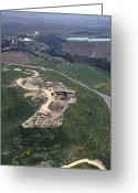 Foundations Greeting Cards - Aerial View Of Excavations In Tel Greeting Card by Richard Nowitz