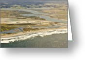 Flood Plain Greeting Cards - Aerial View of Flood Plain and Coast Greeting Card by Eddy Joaquim