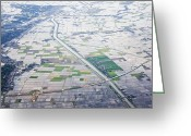 Flooding Greeting Cards - Aerial View of Flooded Farmland Greeting Card by Jeremy Woodhouse