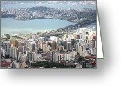 Aerial View Greeting Cards - Aerial View Of Florianópolis Greeting Card by DircinhaSW