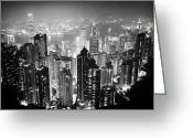 Hong Kong Greeting Cards - Aerial View Of Hong Kong Island At Night From The Peak Hksar China Greeting Card by Joe Fox