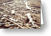 Pollute Greeting Cards - Aerial View of Industrial Plant Greeting Card by Eddy Joaquim