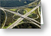 Munich Greeting Cards - Aerial View Of Junction In Bavaria Greeting Card by Daniel Reiter