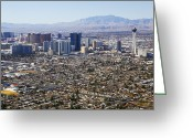 Communications Tower Greeting Cards - Aerial View Of Las Vegas Strip Greeting Card by Allan Baxter