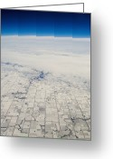 Snow On Field Greeting Cards - Aerial View of Rectangular Plotted Farmland Greeting Card by Thom Gourley/Flatbread Images, LLC