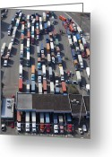 Blue Collar Greeting Cards - Aerial View of Semi Trucks At Port Greeting Card by Don Mason