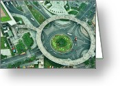 The Bund Greeting Cards - Aerial View Of Shaghai Traffic Greeting Card by Ixefra
