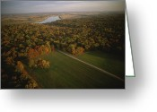 Autumn Scenes Greeting Cards - Aerial View Of Shiloh. The Tennessee Greeting Card by Sam Abell